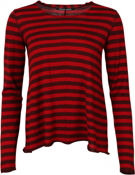 Women's Hannes Roether Knit Pullover Red/Burgundy Stripe