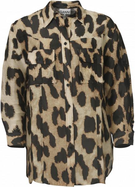 Women's Ganni Silk Linen Shirt Leopard
