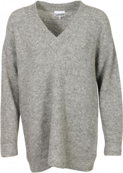 Women's Ganni Knit V-Neck Pullover Grey Melange