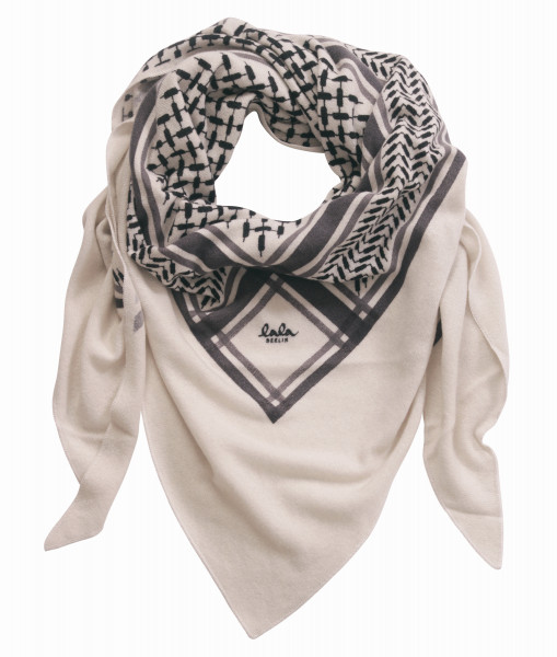 Lala Berlin Cashmere Scarf Large Triangle Offwhite