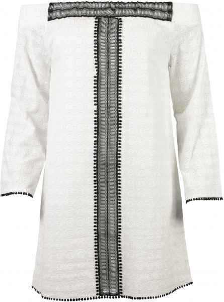 Nikkie Folklore Offshoulder Kleid schwarz/weiss