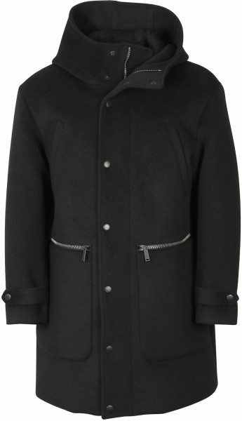Men's Dsquared Hooded Wool Coat Black
