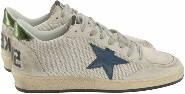 Men's Golden Goose Sneaker Ball Star Silver Mesh/Blue Star