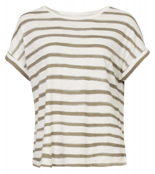 Juvia Lounge Wear Boxy T-Shirt oversize gestreift khaki/weiss