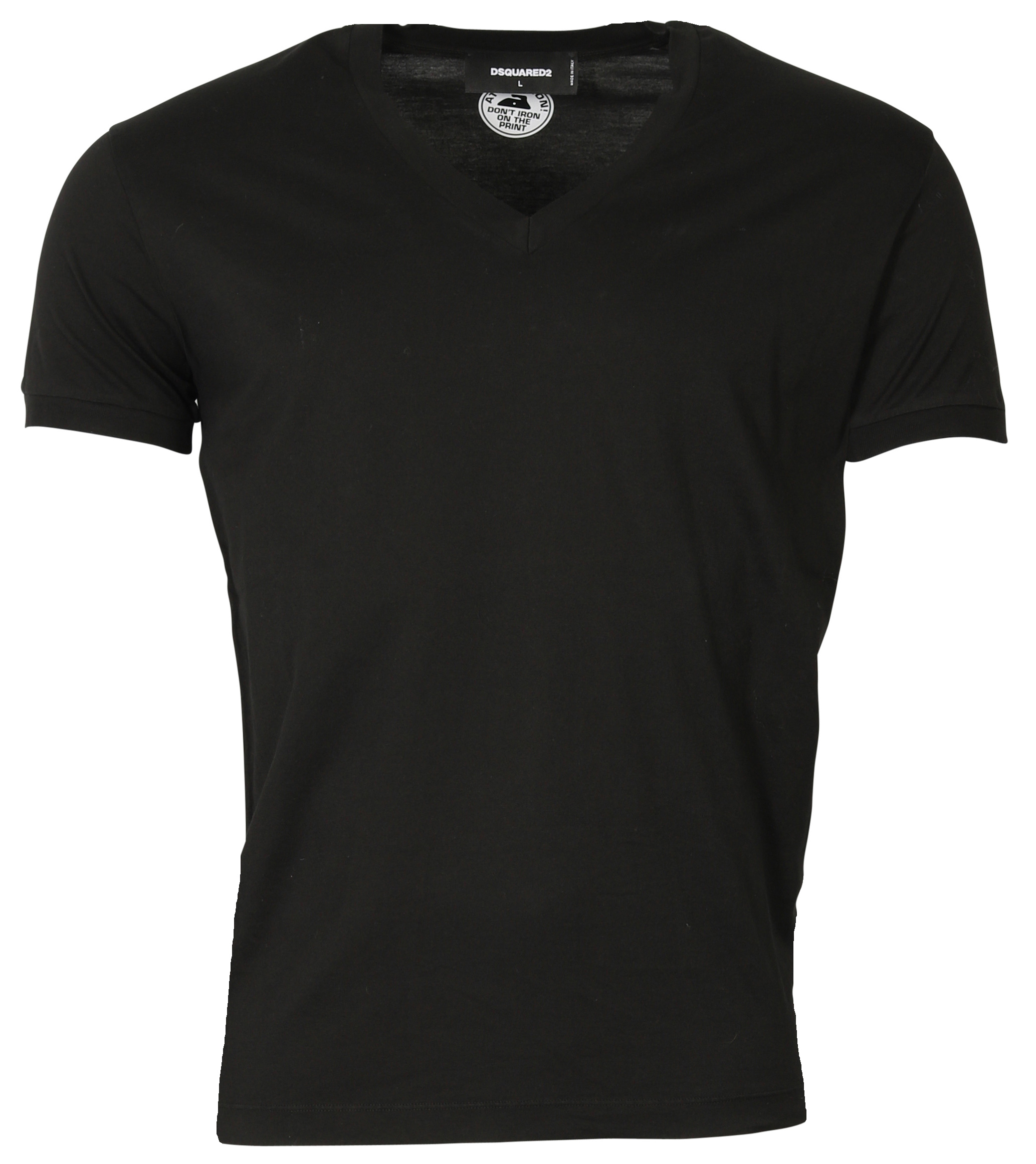 New Dsquared Men T-shirt Black V-Neck