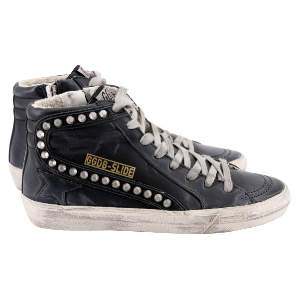 Women's Golden Goose Sneaker Slide Black With Studs
