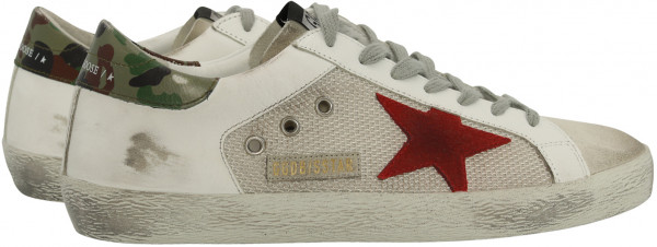 Men's Golden Goose Sneaker Superstar White Leather/Silver Mesh/Red Star