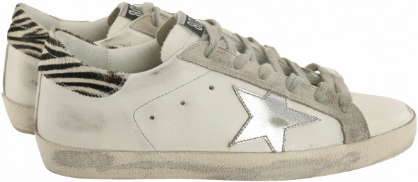 Women's Golden Goose Sneaker Superstar White/Silver/Zebra