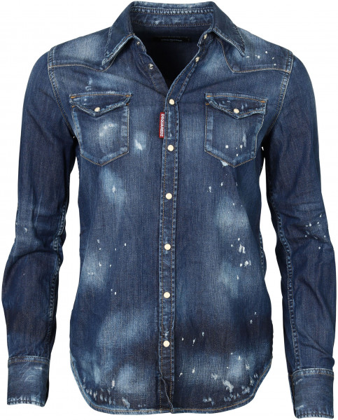 Women's Dsquared D2 Denim Shirt Blue