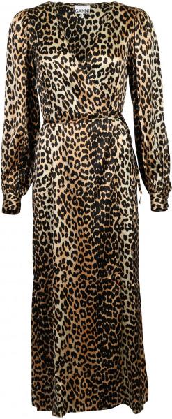 Women's Ganni Wrap Dress Leopard Print