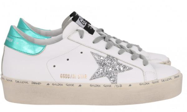 Women's Golden Goose Sneaker Hi Star Leather Upper Glitter Star Laminated Heel