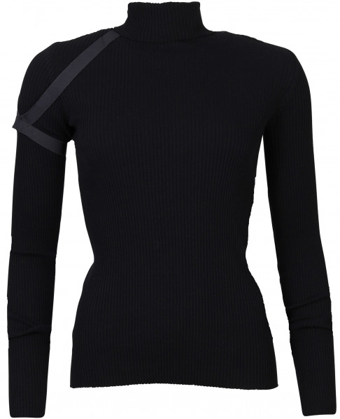 Women's Helmut Lang Cotton Rib Turtleneck Black