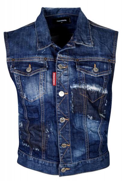 Women's Dsquared Denim Vest Blue Washed