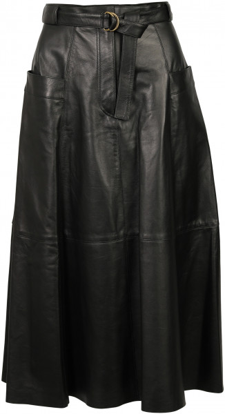 Women's Nili Lotan Lila Leather Skirt Black