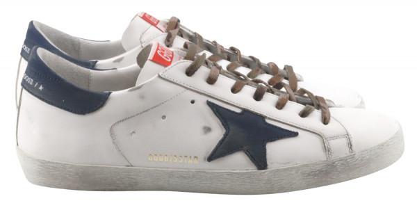 Men's Golden Goose Sneaker Superstar Camo Laces White/Blue