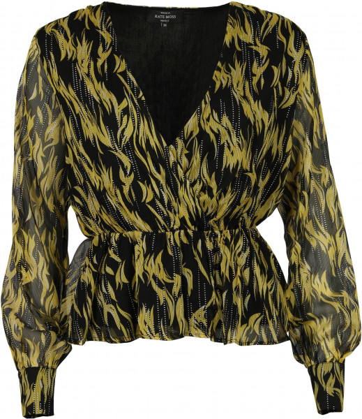 Women's Nikkie Wrap Top Lemon/Black