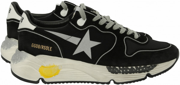 Men's Golden Goose Sneaker Running Black-Lycra-Silver Star