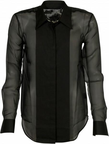 Women's Helmut Lang Sheer Silk Shirt Black Organza