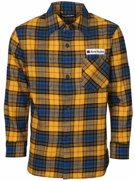 Men's Acne Studios Check Overshirt Salak Flannel Face Yellow/Black