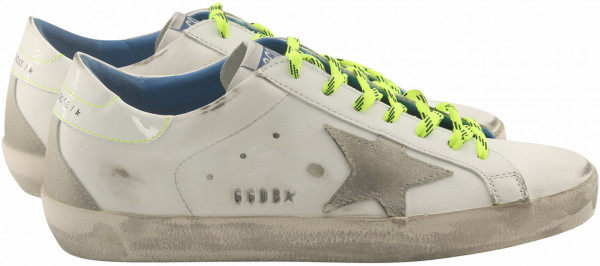 Men's Golden Goose Sneaker Superstar White Leather/Fluo Details
