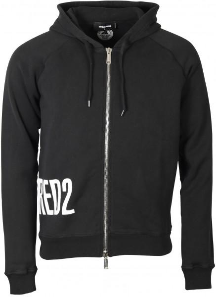 Men's Dsquared Zip Hoodie Black Printed