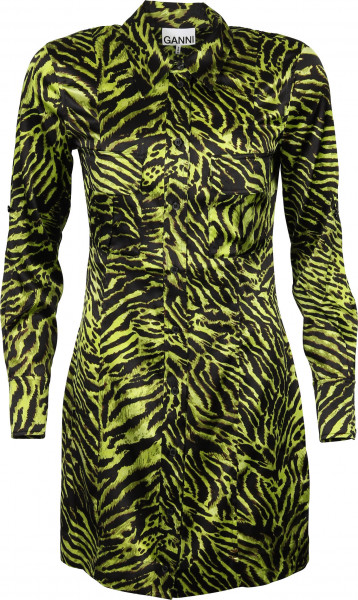Women's Ganni Shirt Dress Lime Tiger Print