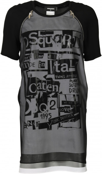 Women's D2 Dsquared T-Shirt Dress Printed Black