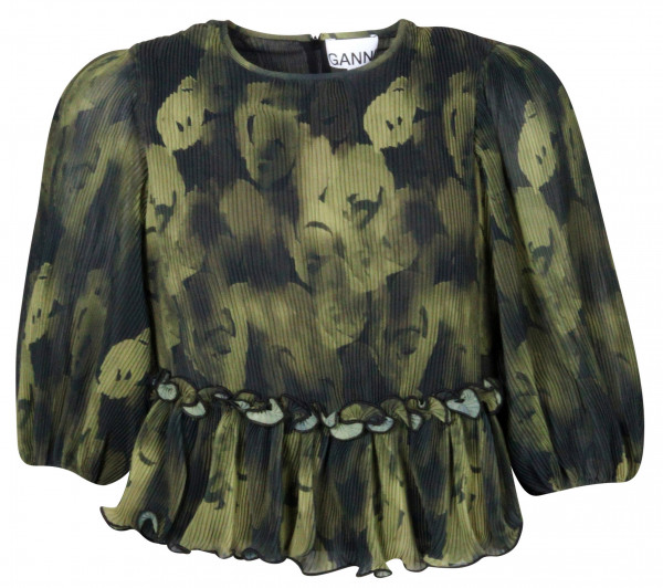 Women's Ganni Recycled Pleated Georgette Blouse Olive Printed