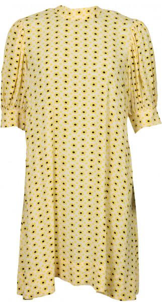 Women's Ganni Dress Yellow Printed Crepe