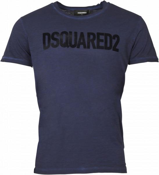 Men's Dsquared T-Shirt Blue Flocked