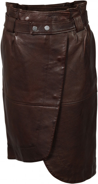 Women's Ganni Leather Skirt Coffee