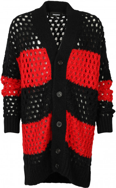WOMEN'S D2 DSQUARED CARDIGAN BLACK RED