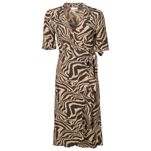Women's Ganni Wrap Dress Animal Printed Crepe