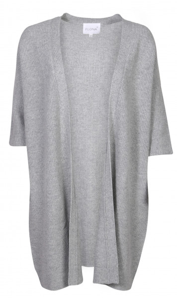 Women's Flona Cashmere Rib Cardigan Grey Melange Shortened Arm