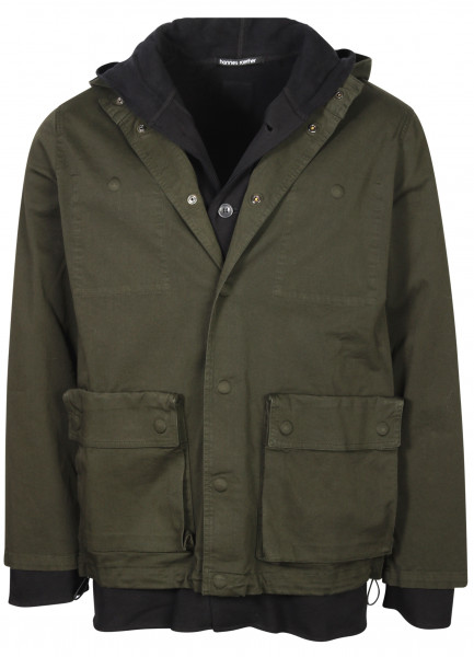 Men's Hannes Roether Cotton Jacket With Removable Inner Hooded Sweatjacket Darkgreen