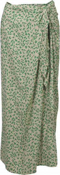 Women's Ganni Long Skirt Ecru/Green Printed