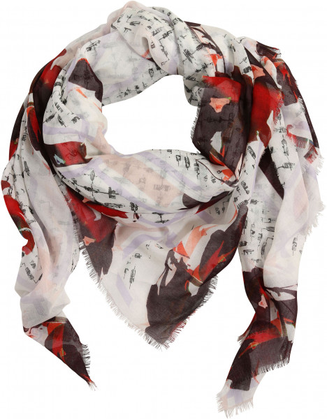 Lala Berlin Cube Scarf Bloom Large Flower Watermelon