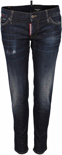 Women's Dsquared Patched Jeans Jennifer Cropped Blue Washed