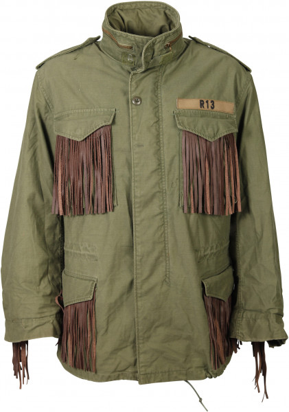 Women's R13/Alpha Industries Fieldjacket Olive/Leatherfringes One Size