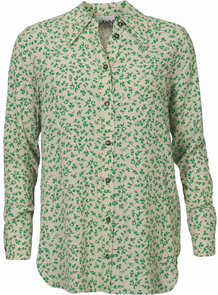 Women's Ganni Shirt Ecru/Green Printed