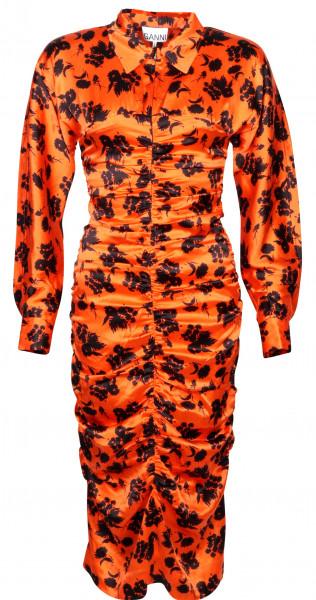 Women's Ganni Silk Stretch Dress Orange/Black Printed