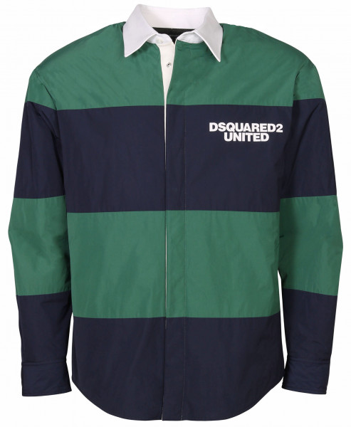 Men's Dsquared Striped Overshirt Green/Blue