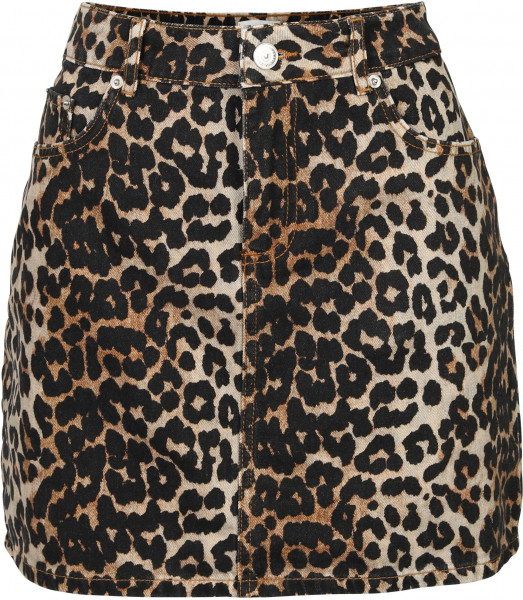 Women's Ganni Denim Skirt Leopard Print