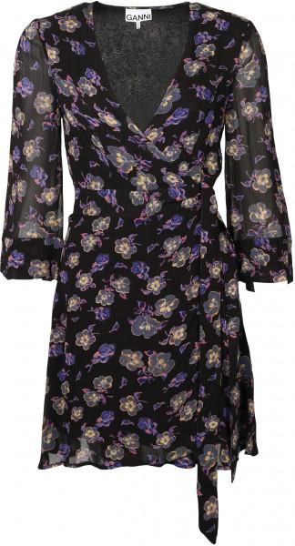 Women's Ganni Wrap Dress Black Floral