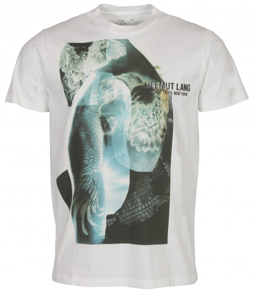 Men's Helmut Lang T-Shirt White Printed Embroidered