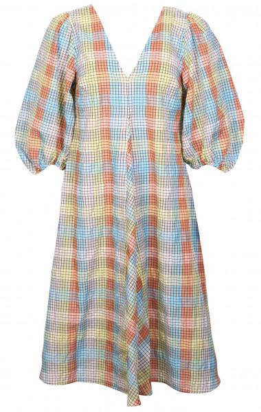 Women's Ganni Dress Seersucker Multicheck