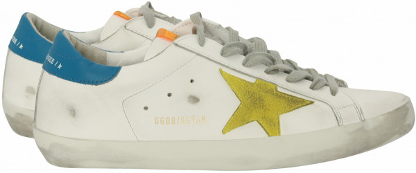 Men's Golden Goose Superstar White Leather Yellow Suede Star