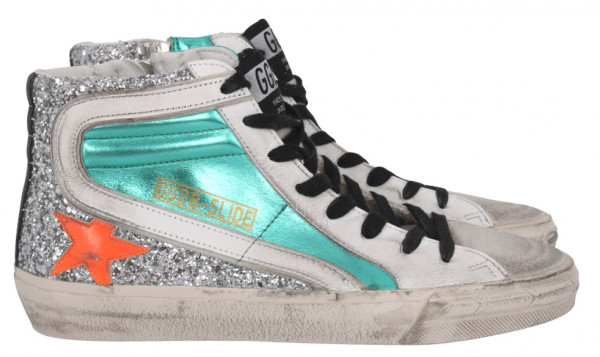 Women's Golden Goose Sneaker Slide Laminated and Glitter Upper Leather Star and Wave