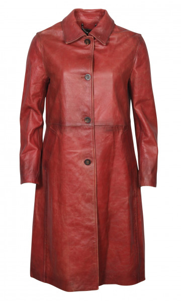 Women's Golden Goose Vintage Leather Coat Amelia Faded Red
