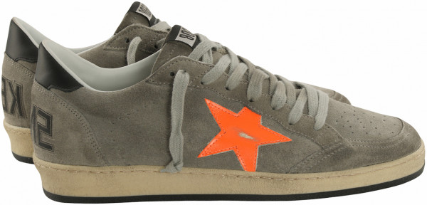 Men's Golden Goose Sneaker Ball Star Grey Suede/Orange Fluo Star